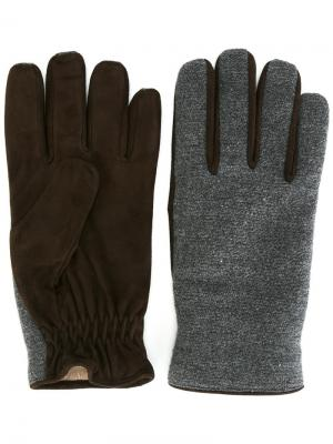 Перчатки с контрастной панелью Lardini. Цвет: серый
