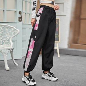 Контрастные брюки-ветровка с камуфляжным швом SHEIN. Цвет: чёрный