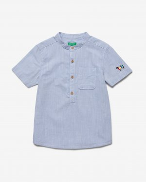 Рубашка с воротником стойкой Benetton. Цвет: голубой