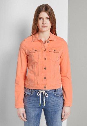Куртка джинсовая Tom Tailor Denim. Цвет: коралловый