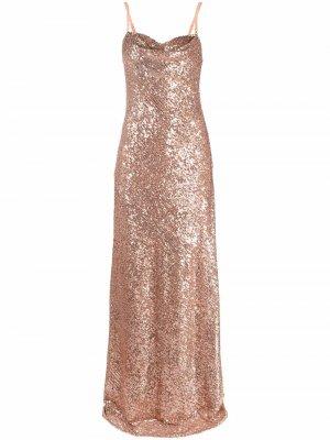 Платье без рукавов с пайетками Elisabetta Franchi. Цвет: нейтральные цвета