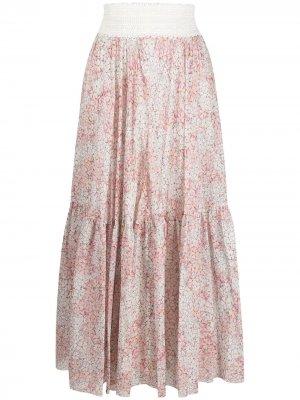 Расклешенная юбка с цветочным принтом Giambattista Valli. Цвет: розовый