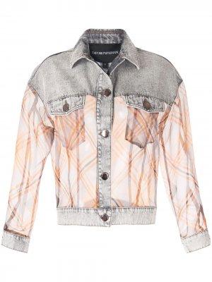 Джинсовая куртка с контрастными вставками Emporio Armani. Цвет: f637 grigio brookly