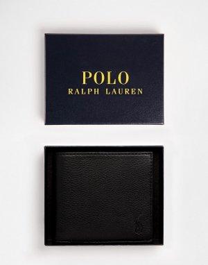 Черный кожаный бумажник с кармашком для монет -Черный цвет Polo Ralph Lauren