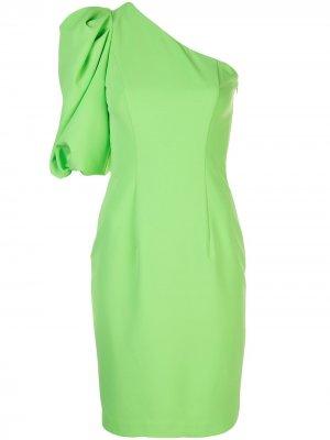 Платье на одно плечо Black Halo. Цвет: зеленый
