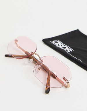 Солнцезащитные очки без оправы в стиле ретро с розовыми линзами -Розовый цвет ASOS DESIGN