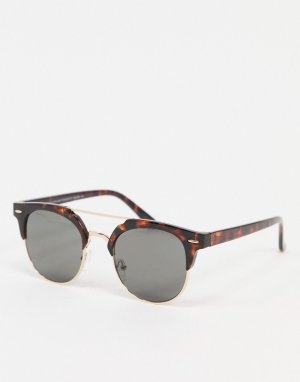 Солнцезащитные очки в стиле ретро с черепаховой оправой -Коричневый New Look