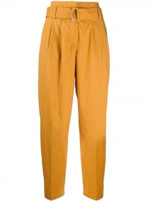 Зауженные брюки с поясом 8pm. Цвет: желтый