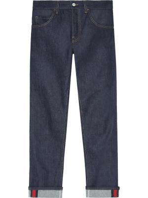 Зауженные джинсы с отделкой Web Gucci