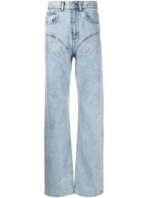 Широкие джинсы с кристаллами Y/Project. Цвет: синий