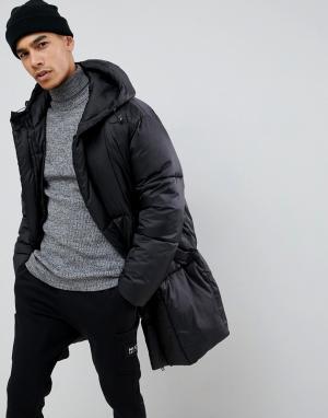 Черная дутая куртка со съемными варежками -Черный ASOS DESIGN