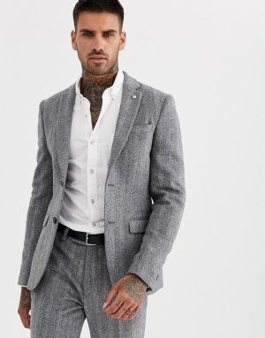 Серый приталенный твидовый пиджак с узором в елочку Avail London