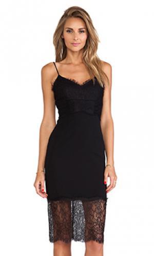 Платье майка на бретелях lace & silk NICHOLAS. Цвет: черный