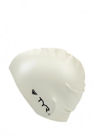 Шапочка для плавания TYR Wrinkle Free Silicone Cap. Цвет: белый