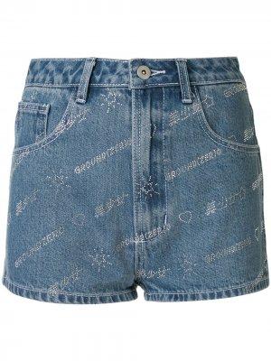 Декорированные джинсовые шорты с логотипом Ground Zero. Цвет: синий