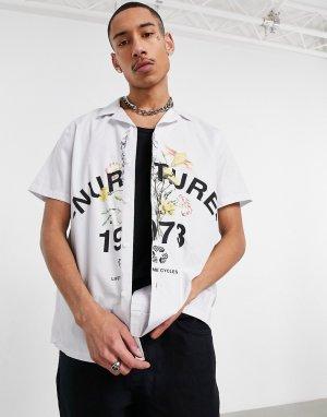 Свободная рубашка из поплина с отложным воротником и броским цветочным принтом -Белый ASOS DESIGN