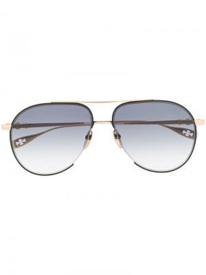 Солнцезащитные очки-авиатор Chrome Hearts. Цвет: золотистый