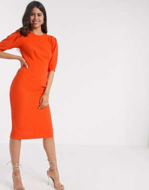 Оранжевое облегающее платье миди -Оранжевый Closet London