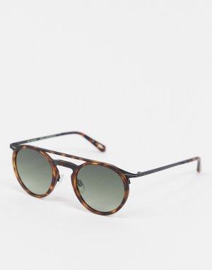 Черепаховые солнцезащитные очки в круглой оправе с отделкой -Коричневый Ted Baker