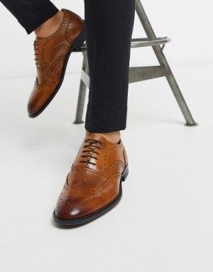 Светло-коричневые оксфордские туфли-броги из кожи -Коричневый цвет ASOS DESIGN