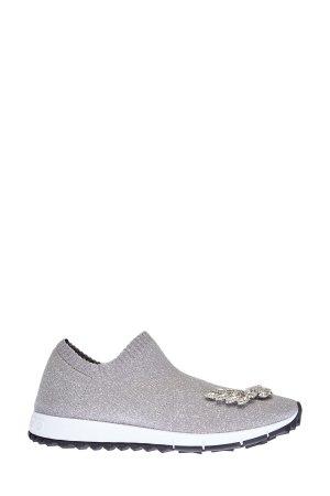 Вязаные кроссовки Verona с люрексом и брошами из кристаллов JIMMY CHOO. Цвет: серый