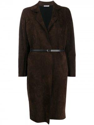 Однобортное пальто с поясом Salvatore Santoro. Цвет: коричневый