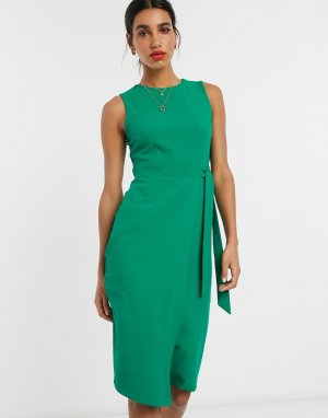 Зеленое платье-футляр с V-образным вырезом на спине Closet-Зеленый Closet London