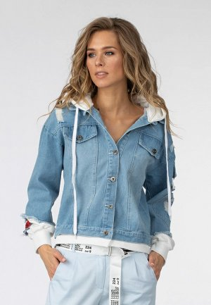 Куртка джинсовая Moda di Lusso. Цвет: голубой