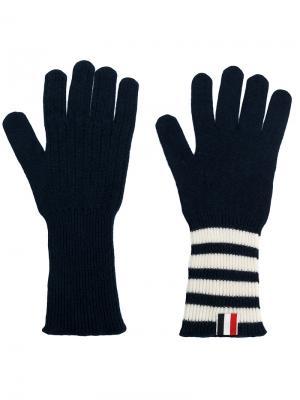 Кашемировые перчатки с полосками 4-Bar Thom Browne. Цвет: синий