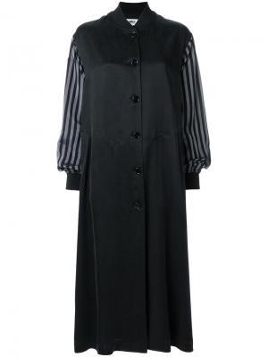 Платье-бомбер с расклешенными рукавами Mm6 Maison Margiela. Цвет: черный