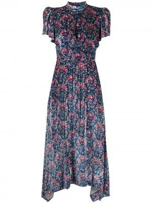 Бархатное платье с воротником-стойкой и цветочным принтом Philosophy Di Lorenzo Serafini. Цвет: синий