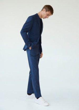 Пиджак slim fit с мелкой фактурной выделкой - Brasilia Mango. Цвет: чернильный