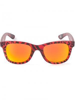 Солнцезащитные очки в леопардовый принт Italia Independent. Цвет: красный