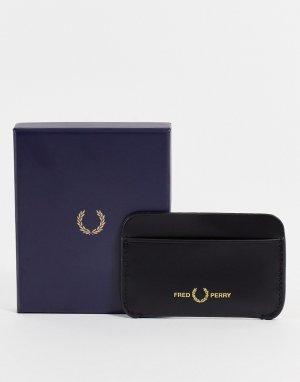Черный матовый кожаный кошелек для пластиковых карт -Черный цвет Fred Perry