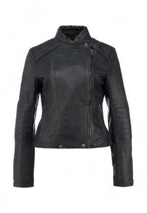 Куртка кожаная Tommy Hilfiger Denim. Цвет: серый