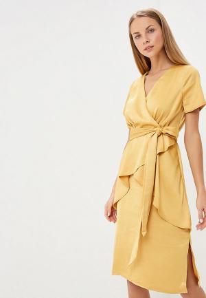 Платье LOST INK PREMIUM SATIN WRAP COLUMN MIDI DRESS. Цвет: желтый