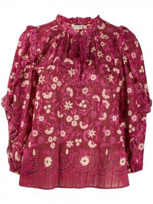Блузка с цветочным принтом и кисточками Ulla Johnson. Цвет: красный