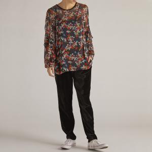 Блузка с круглым вырезом, цветочным рисунком и длинными рукавами DERHY. Цвет: черный наб. рисунок