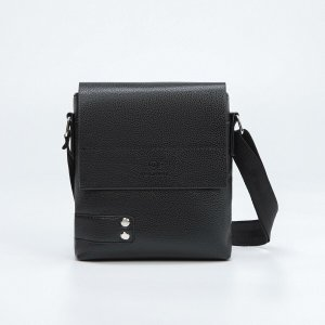 Планшет мужской, отдел на молнии, наружный карман, длинный ремень, цвет чёрный TEXTURA