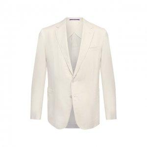 Пиджак изо льна и шелка Ralph Lauren. Цвет: белый