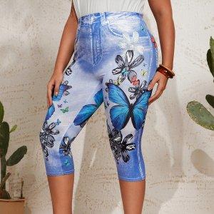 Размера плюс Джеггинсы цветочным рисунком и с принтом бабочки капри SHEIN. Цвет: многоцветный