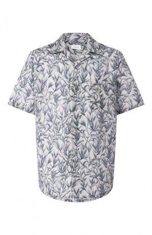 Рубашка из смеси льна и хлопка Brioni. Цвет: серый