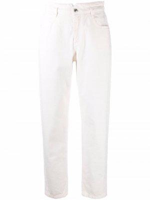 Зауженные джинсы с завышенной талией Ermanno. Цвет: белый