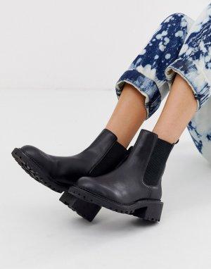 Черные массивные ботинки челси Action-Черный ASOS DESIGN