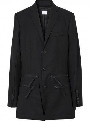 Твиловый пиджак узкого кроя Burberry. Цвет: черный