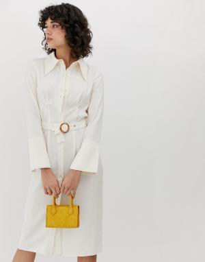 Платье-рубашка миди в стиле 70-х с большим воротником -Кремовый ASOS DESIGN