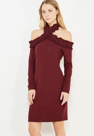 Платье LOST INK RUFFLE BARDOT BODYCON. Цвет: бордовый