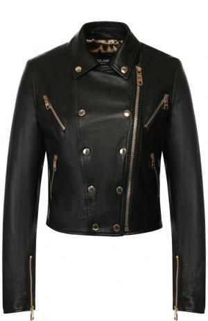 Кожаная куртка на молнии Dolce & Gabbana. Цвет: чёрный
