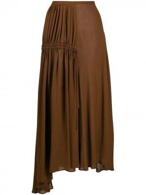 Плиссированная юбка асимметричного кроя Nº21. Цвет: коричневый
