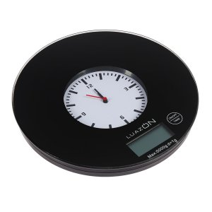 Весы кухонные luazon lvk-703, электронные, до 5 кг, встроенные часы, чёрные Home
